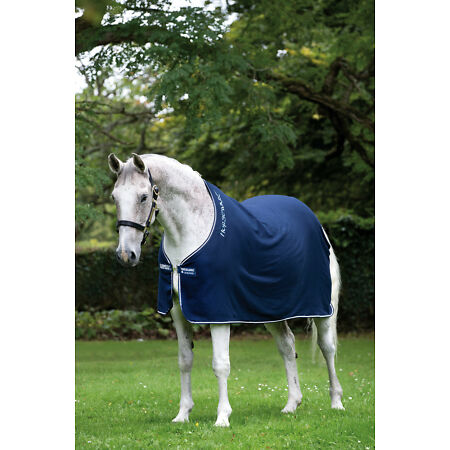 img-Horseware Rambo Brushed COTTON COOLER Soft Wicking Sweat Rug Navy/Red 5'0-7'3