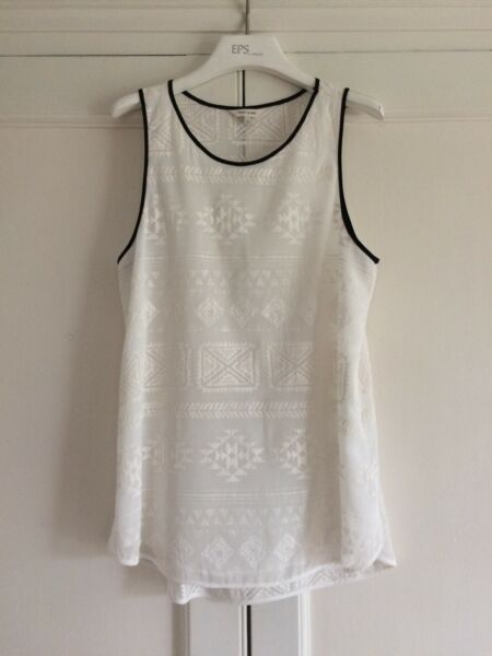 Womens River Island tunic length white with black trim sleeveless top - size 12