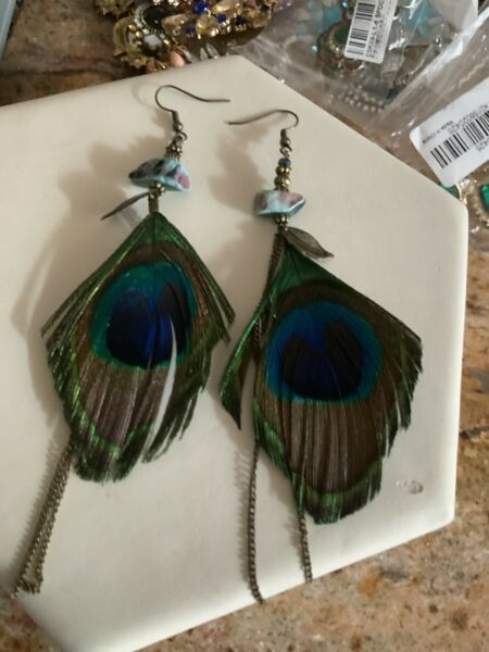 Peacock Feather Green Fashion Earrings Jewellery