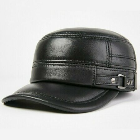 img-Men Leather Trapper Hat Baseball Cap Outdoor Hunting Military Ear Flap Cadet SPW