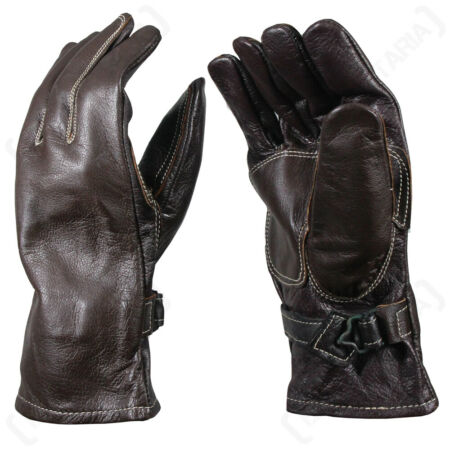 img-Swedish Army - Surplus White Stitched Brown Leather Gloves