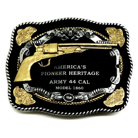 img-Gun Belt Buckle Army 44 Cal Revolver American Western Theme Authentic White Wolf