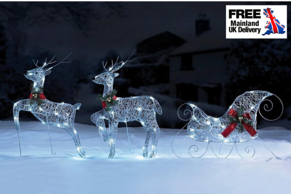 Silver Reindeer and Sleigh Set,  Outdoor LED Lights,  Christmas Decoration XMAS