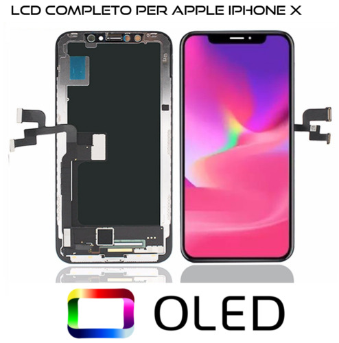 TOUCH SCREEN OLED DISPLAY PER APPLE IPHONE X 10 VETRO SCHERMO NERO + FRAME