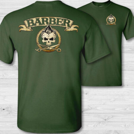 img-Barber Tête de Mort T-Shirt,Barbiers Magasin Crâne Styliste Cheveux Badge