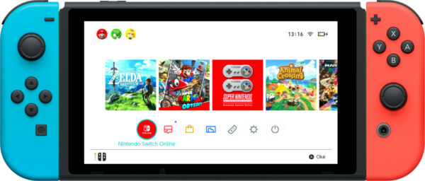 Nintendo Switch (New revised model) console da gioco portatile Nero, Blu, Rosso