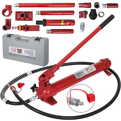10Ton Porta Power Hydraulic Jack Body Frame Repair Kit 2M Lengthen Hose Lift Ram