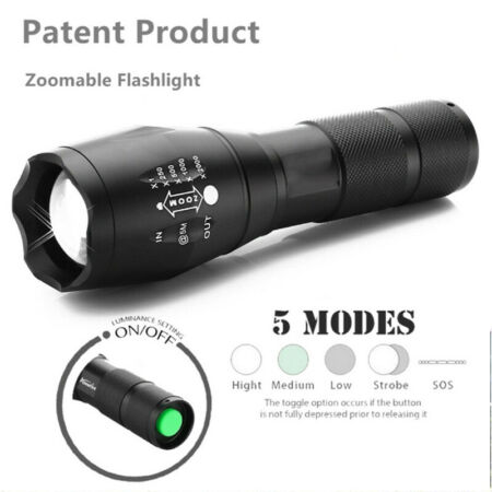 img-Bright LED Torch T6 Flashlight Police Tactical Zoom Camping Lamp 5Mode Outdoor