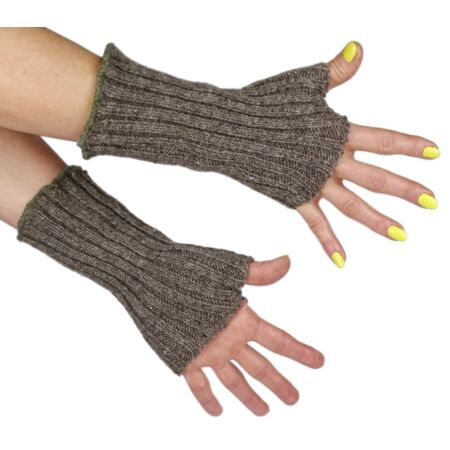 img-Swedish Army Woolen Wristlets Fingerless Gloves Olive Grey Joints Wrist Warmer