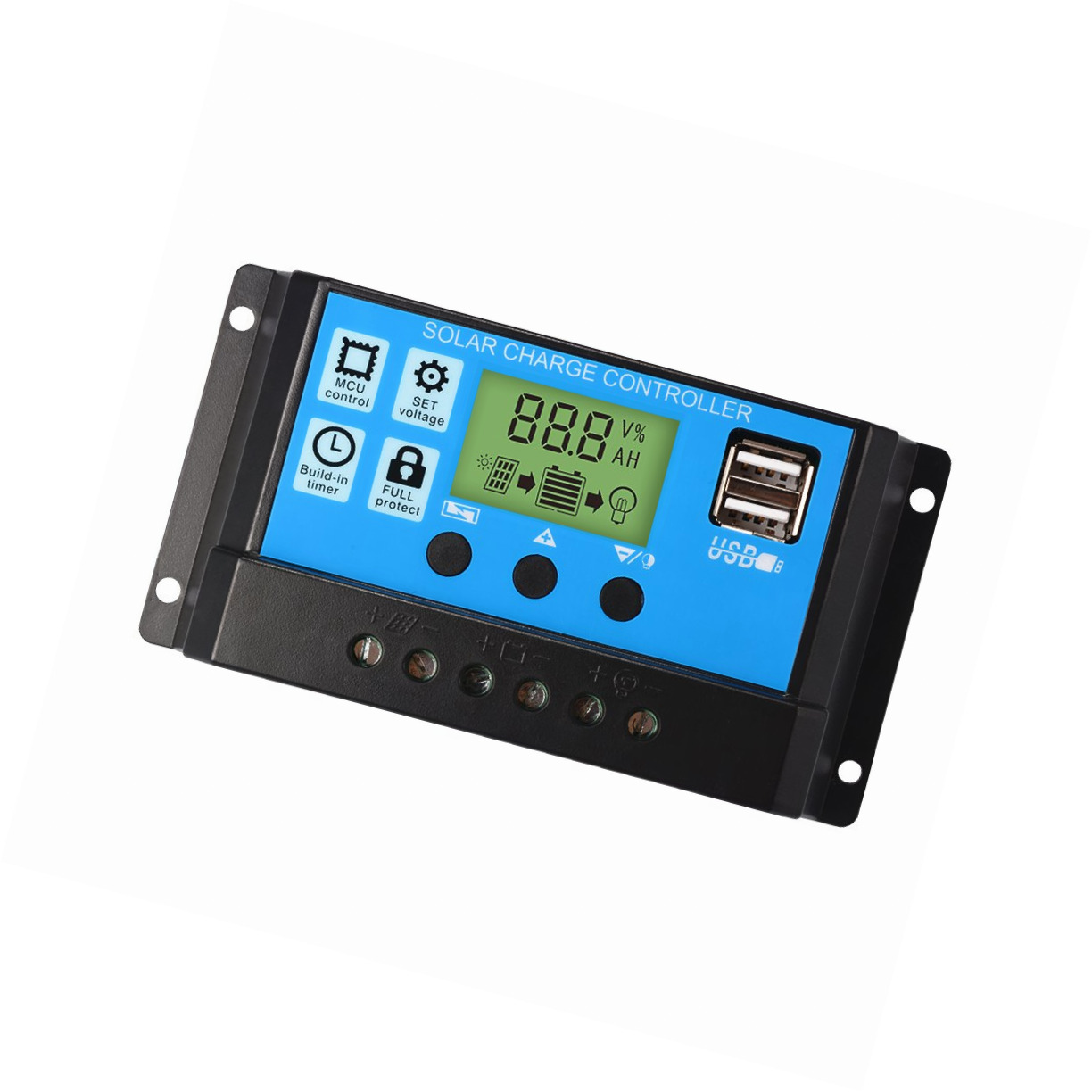 PWM-Lademodus kann EIN anderes Mal-kompatible MPPT Y/&H 10A 12V//24V Intelligent Solar Panel Charge Controller Regulator USB Port 5V Light Timer Control LCD-Display