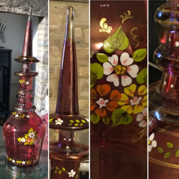 "Huge 20"" CZECH BOHEMIAN MOSER RUBY FLASHED DECANTER FORAL ENAMEL SPIRE STOPPER🎁"