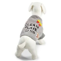 Bow & Drape ''Clean Plate Club'' Pizza Fries Taco Pet Shirt - Large - Heather Gray