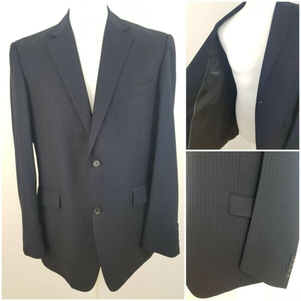 Dehavilland British Design Mens Dark Navy Blue Striped Suit Jacket Chest 44 in