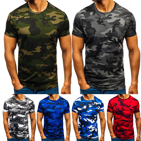 img-Mens Military Camouflage Camo T Shirt Summer Top Tee Crew Neck Army Combat Beach