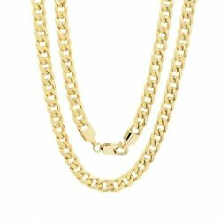 Kyпить 10K Solid Yellow Gold Cuban Link Chain Necklace 16