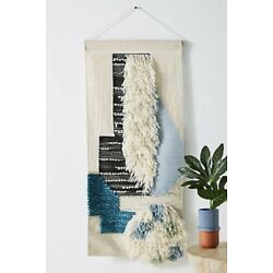 Kyпить  Anthropologie Wall Art tan black blue turquoise Shaggy Wool Cotton Woven на еВаy.соm