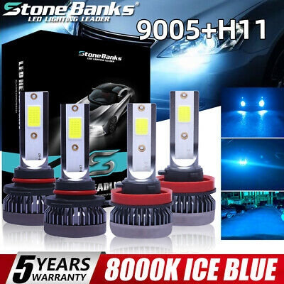 4PCS Mini Combo 9005+H11 LED Headlight Kit High Low Beam Bulbs ICE BLUE 8000K