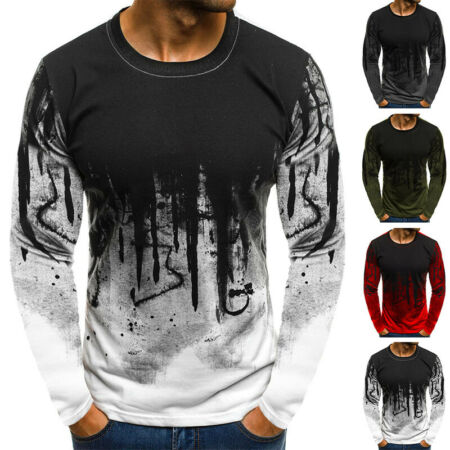 img-Men's Camo Long Sleeve T-Shirt Tops Crew Neck Casual Muscle Slim Fit Blouse Tees