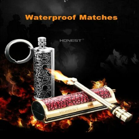 img-Fire Starter Lighter Waterproof Flint Match Metal Keychain Camping Survival Kit