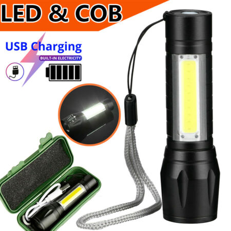 img-1/2PCS Outdoor LED Torch USB Rechargeable Flashlight Tactical Zoom Camping Lamp