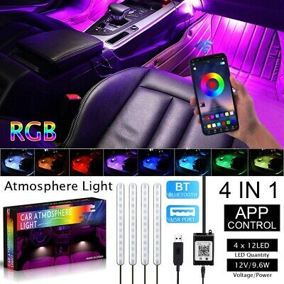 RGB 48LED Strips Car Interior Floor Atmosphere Light Bluetooth Phone App Control