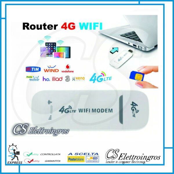 ROUTER CON SLOT SIM CARD 4G WIFI MODEM PER PC TABLET NOTEBOOK SMARTPHONE IP CAM