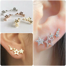 Kyпить Elegant Star 925 Silver Stud Earrings Women White Sapphire Jewelry A Pair/set на еВаy.соm