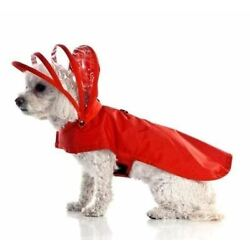 Dog Rain Coat Waterproof Jacket with Clear Hood and Fleece Lining for Small Dogs