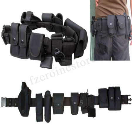 img-Police Guard Tactical Belt Buckles With 9 Pouches Utility Kit Security !! #!