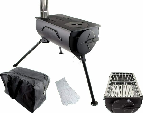Portable Wood Burning Stove Camping BBQ Cooker Tent Heater Firepit Bag + GRILL