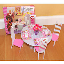 Kyпить GLORIA FURNITURE DOLL HOUSE 4 CHAIRS DINING ROOM TABLE CHAIRS PLAYSET FOR BARBIE на еВаy.соm