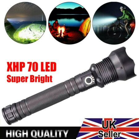 img-LED Torch Rechargeable Battery Flashlight Police Tactical Zoomable Camping Lamp