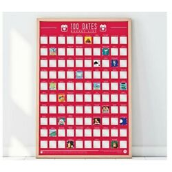100 DATES POSTER date night Scratch Off Bucket List Activites Poster A2