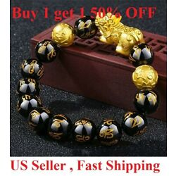 Kyпить  Feng Shui Black Obsidian Beads Bracelet Attract Wealth & Good Luck Bangle pixiu на еВаy.соm