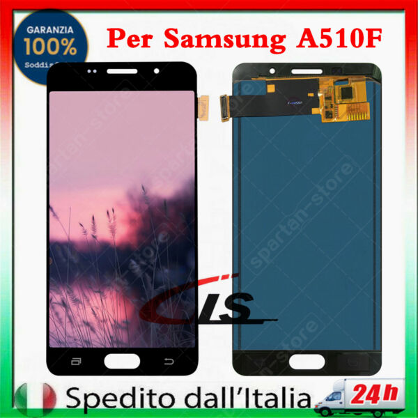 DISPLAY LCD PER SAMSUNG GALAXY A5 A510 2016 SM-A510F NERO TOUCH SCREEN SCHERMO