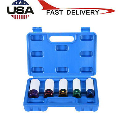 5pc Impact Socket Set Thin Wall Socket Set Wheel Protector Lug Nut Socket 1/2