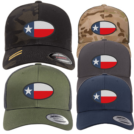 img-TEXAS FLAG OVAL CAP Hat Flexfit yupoong Camouflage snapback stretch USA TRUCKER