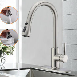 Kyпить Brushed Nickel Kitchen Faucet Pull Out Sprayer Mixer Tap Single Handle 10