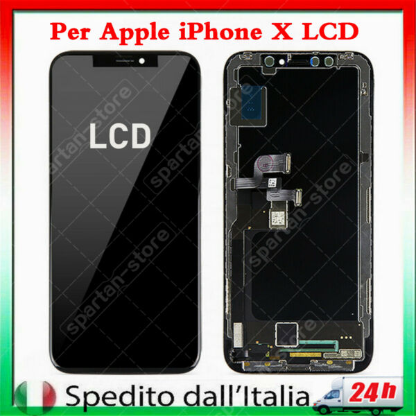 OLED DISPLAY PER APPLE IPHONE X 10 LCD VETRO SCHERMO TOUCH SCREEN NERO TIANMA
