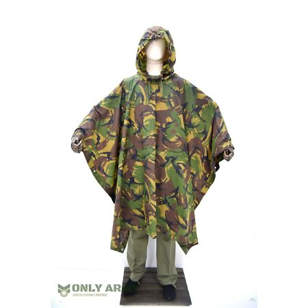 img-Dutch Army DPM Poncho Waterproof Hooded Rain Cape Ripstop Basha Tarp Sheet Camo