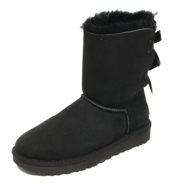 ItalieG0236 stivale donna UGG BAILEY BOW black boots shoes woman