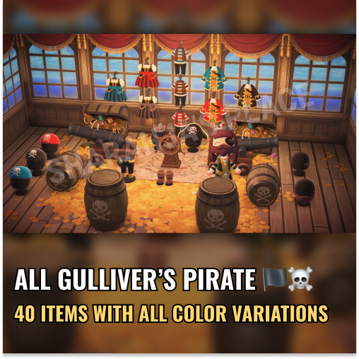Mions,FrancePIRATE GULLIVER Collection (40 items) Animal Crossing New Horizons 🌍