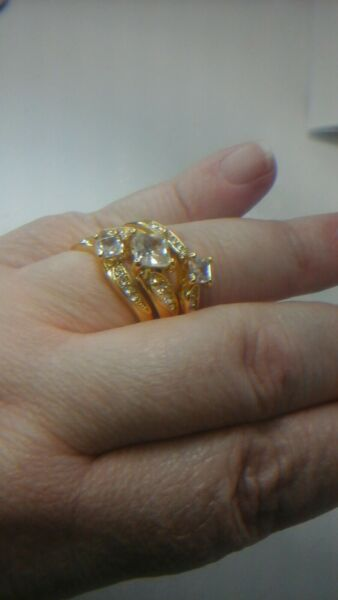 Gold filled 3 Stackable Topaz And Zircon ring Set Size 9