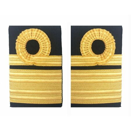 img-Official Royal Navy Rear Admiral Lace Rank Slides - Epaulettes Insignia RN