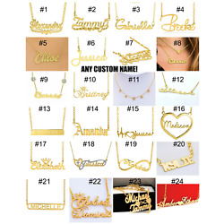 Kyпить Personalized Sterling Silver 14KGold Any Name Plate Script Chain Necklace USA  на еВаy.соm