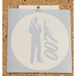Awesome Handcrafted James Bond 007 White Vinyl Decal Indoor/Outdoor NEW 5''