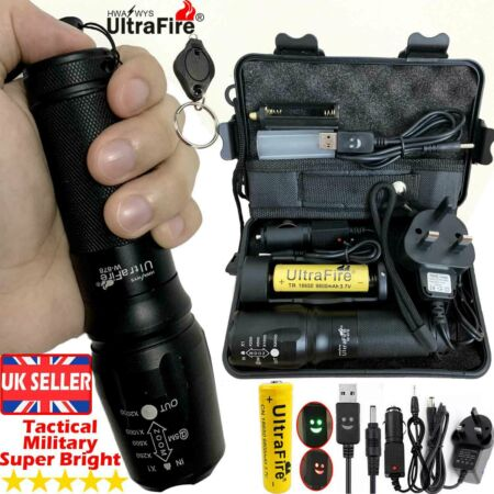 img-Ultrafire Flashlight 100000LM CREE T6 LED Tactical Military Torch Zoom Headlamp+