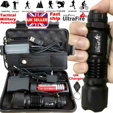 img-Zoom 100000LM Ultrafire Tactical Military T6 LED Flashlight Torch Work Light UK*