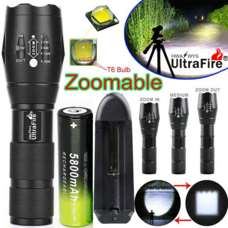 img-90000LM Tactical Military CREE T6 Zoom LED Flashlight Torch Work Light Lamp