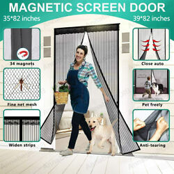 Magnetic Screen Door Heavy Duty Hands-Free Mosquito Mesh Anti Bugs Fly Curtain